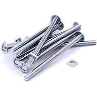 M6(6mm x 100mm) cabeza tornillos y tuercas–acero (Pack de 10)