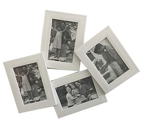 Ducomi cornice multipla foto in legno - 4 cornici 10 x 15 cm - collage per fotografie e polaroid di battesimo, compleanno e matrimonio - quadri multipli da appendere per conservare i momenti e i ricordi più belli (large,white)