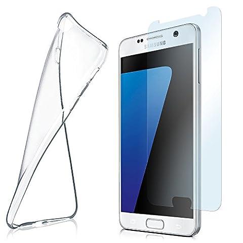Silikon-Hülle für Samsung Galaxy S7 + Panzerglas Set [360 Grad] Glas Schutz-Folie mit Back-Cover Transparent Handy-Hülle Samsung Galaxy S7 Case Slim Schutzhülle Panzerfolie - Display gewölbt, Folie bewusst