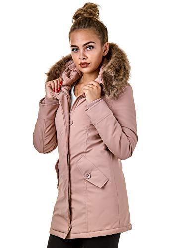 EightyFive Damen Jacke Parka Mantel Winterjacke Kunstfell Kapuze Warm Gefüttert Schwarz Khaki Rot Pink Creme EF1828-05