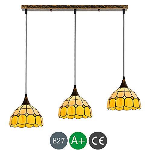 E27 Farbe Glas Tiffany Hängelampe LED Luxus Mittelmeer Pendelleuchte Höhenverstellbar Vintage Hängeleuchte Esszimmerlampe Esstischlampe Leuchte Wohnzimmer Schlafzimmer Küche Lampe Deckenbeleuchtung -