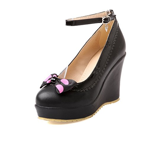 Ruffles BalaMasa da donna, con fibbia, tessuto morbido pompe-Shoes Black