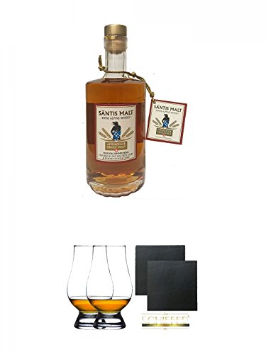 Säntis MALT (43%) HIMMELBERG Single Malt Whisky 0,5 Liter + The Glencairn Glass Whisky Glas Stölzle 2 Stück + Schiefer Glasuntersetzer eckig ca. 9,5 cm Ø 2 Stück -