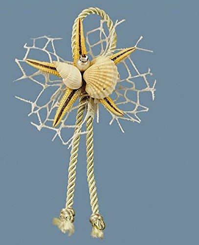 Confezione 36 pezzi-fiori, bomboniera applicazione stella marina con cordone e conchiglia, x segnaposto, composizione confetti. ck5025