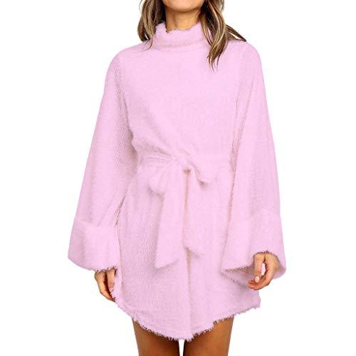 AQIN 2020 Winter Damen Warm Elegant Kunstpelz Kleid Lose Ärmel mit Gürtel Rundhals Kurzhaufen Velour Mini Kleid