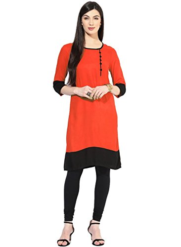 Kurta (Vipul Women's Branded Orange & Black Casual Wear Cotton Free Size Kurti (Best Gift For Mummy Mom Wife Girl Friend, Offers and Sale Discount) )  available at amazon for Rs.97