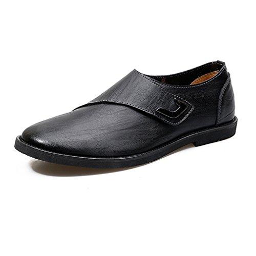 Printemps Respirent Hommes Chaussures Loafers en Microfibre Loisirs Business Scratch Noir