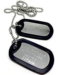 TusPlacas.es Chapas Militares Personalizadas Grabadas en Relieve/Juego de 2 Chapas Acero INOX