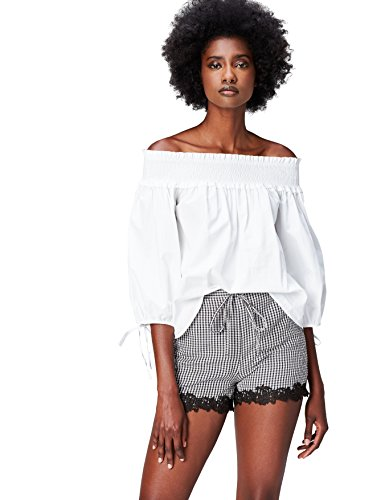 find. Shorts Gingham Donna , Nero (Black/white Check), 48 (Taglia Produttore: X-Large)