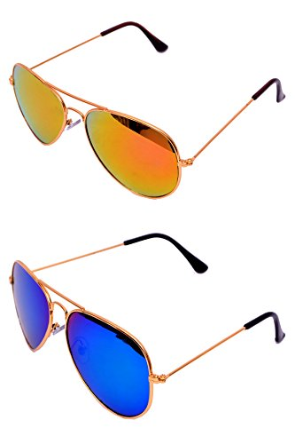 Rst Aviator Unisex Sunglasses(131  Blue & Yellow)