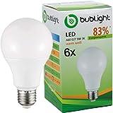 6x Bublight LED Lampe E27 9W, ersetzt 55W Glühbirnen, Energieklasse A+ (E-A ++), 3000 Kelvin warmweiss Glühlampe Birne Tropfen LED-Glühlampen Leuchte