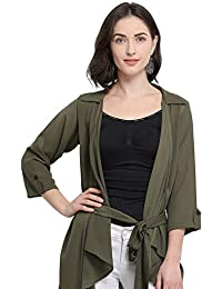 Serein Women's Olive Green Solid Crepe Shrug/Long Jacket with Belt and 3/4th Sleeves