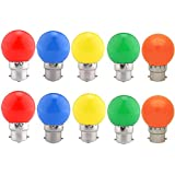 Ampoules baïonnette B22 - Paquet de 10 ampoule LED Feston 2 W (équivalent 20W), ampoule écoénergétique écoénergétique colorée Couleur, petites ampoules de Noël BC Cap