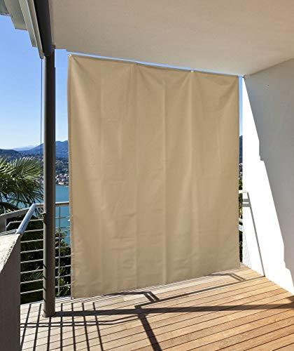 Clothink Seitlicher Balkonsichtschutz Wasserdicht Sonnenschutz Windschutz Sichtschutz Balkon Terrasse Beige L: 230 x B: 140 cm