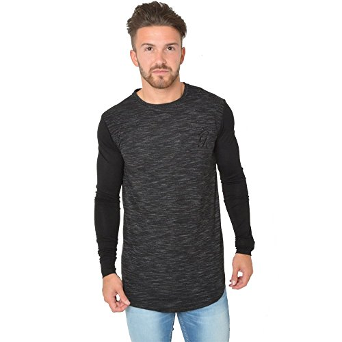 Gym King Contrast 1/2 AM LS Top Charcoal