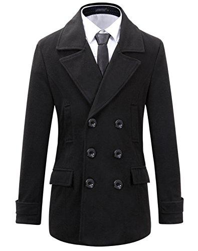 Benibos Herren Tweed Slim Double Breasted Mantel (XS, Schwarz) -
