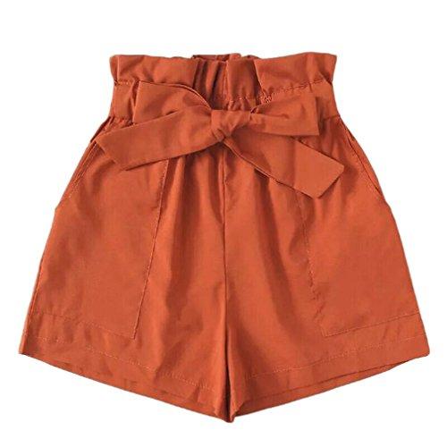 Jaminy Damen Sport Shorts Kurze Hosen Yoga Athletik Tanzen Shorts Fitness Hot Pants Damen Shorts Sommer Sports Kurze Hosen Badeshorts Schwimm Running Yoga Hose M-2XL (Orange, M)