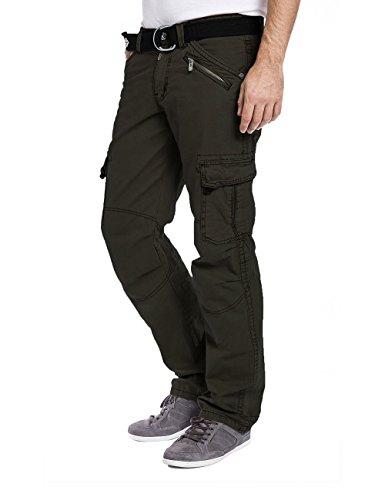 Timezone Herren Relaxed Hose BenitoTZ cargo pants incl. belt Grün (Pirate Green 4211)