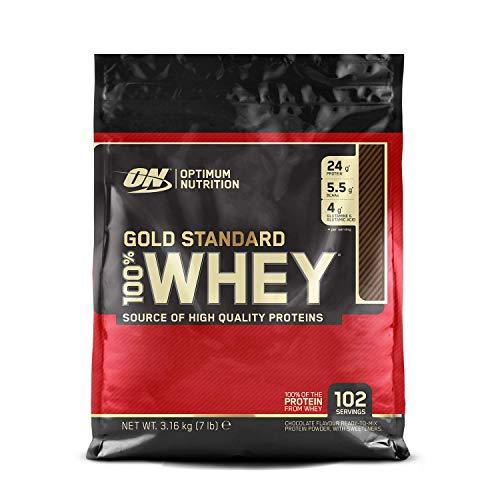 Optimum Nutrition ON Gold Standard Whey Protein Pulver, Eiweißpulver Muskelaufbau mit Glutamin und Aminosäuren, natürlich enthaltene BCAA, Double Rich Chocolate, 102 Portionen, 3.16kg