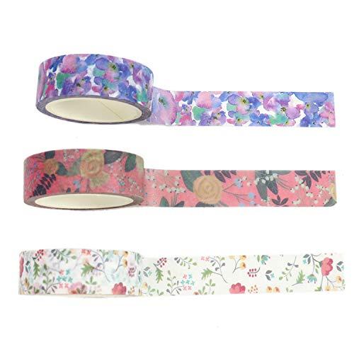 Monrocco 9 Rollen Floral Washi Tape Blumen Dekoratives Masking Tape Japanisches Papier Tapes für DIY Handwerk Projekte Kunst Scrapbooks