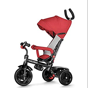 TX Baby Tricycle 2-3 Years Old Ceiling Bicycle Children Boys Girls 3 PU Wheel Toddler Pedal Pushable,Red   10