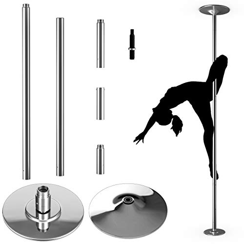 COSTWAY Profi Tanzstange | 45 mm Pole Dance Stange | Strip Stange static & spinning | Pole Dance Stange Edelstahl | höhenverstellbar inkl. DVD| bis 200kg