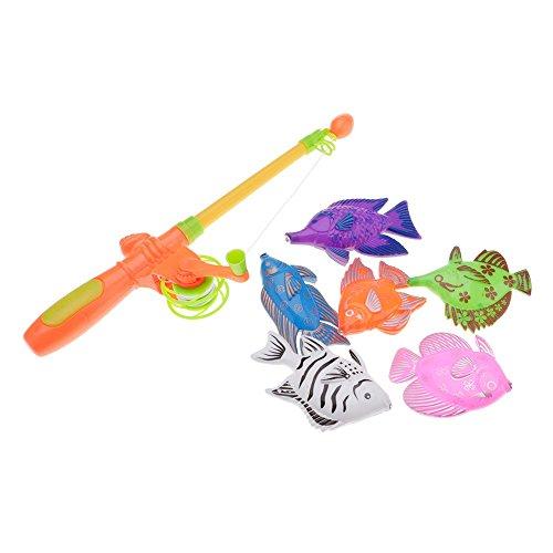 Modell Spiele (?Lustige pädagogische 6 Fische Modell und 1 Rod magnetische Baby Kinder Angeln Spiel Spielzeug Geschenk)
