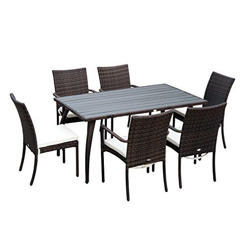 Outsunny Set Mobili da Giardino Tavolo da Pranzo, 6 Sedie 7pz con Cuscini Rattan
