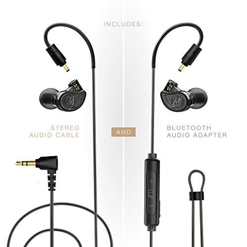 MEE Audio M6 PRO 2.Generation Musiker In-Ear-Monitore verkabelt + kabelloses Kombi-Pack: inkl. Stereo-Audiokabel und Bluetooth-Audio-Adapter (schwarz) -