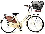 """Bicicletta 26″ Donna/Uomo Albatros """"Olanda"""" Senza Cambio in Acciaio + Cestino Anteriore/Colore Beige"""
