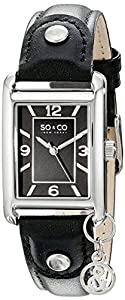 SO & CO New York 5024.1 - Reloj de cuarzo para mujeres, negro de Diamant Feuer