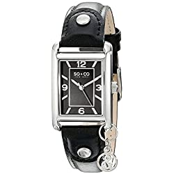 SO & CO New York Madison Women's Quartz Watch with Black Dial Analogue Display and Black Leather Strap 5024.1