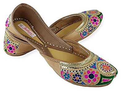 Fulkari Womens Embroidered On Genuine Leather Shine Gold Multicolor Soft and Comfortable Office Jutis Ethnic Flat Shoes 36