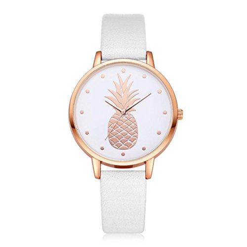 HEHEM, Women watch Femme, montres Hehem Femme ronde montre bracelet de luxe Mode Bande de cuir montres à quartz analogique, blanc