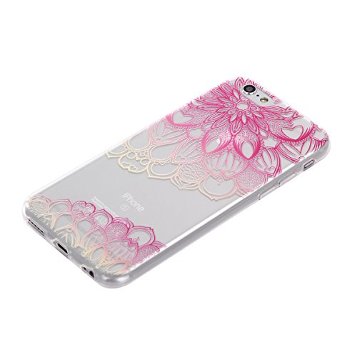 iPhone 6 6S (4,7 Zoll) Hülle,BONROY® Muster TPU Case SchutzHülle Silikon Case Tasche Weiches Transparentes Silikon Schutzhülle Malerei Muster Ultradünnen Kratzfeste Tasche Schutzhülle Hülle Case Cover Diagonale Blume