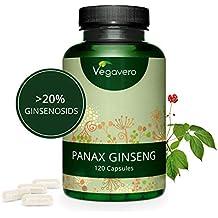 Ginseng Rojo Coreano PURO Vegavero® | LA DOSIS MÁS ALTA: 4800 mg | 20