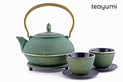 teayumi–Théière en fonte Arare Set 0,9l, vert sur l'or