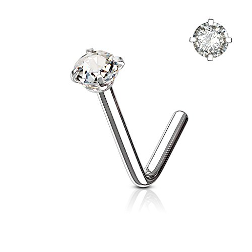 BodyJewelryonline Erwachsenen Nase Ring Stud L förmige chirurgische Stahlschraube Piercing CZ Gem 1pc 20G 18G 6MM (Silber - klare CZ, 18) (L-förmige Nase Ringe 3mm)