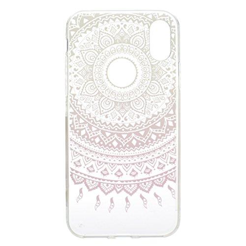 "Coque pour Apple iPhone X , IJIA Transparent Plumes Bleues TPU Doux Silicone Bumper Case Cover Shell Housse Etui pour Apple iPhone X (5.8"") MM19"