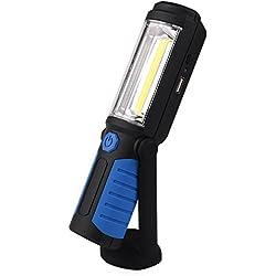 Lampe de Travail led Rechargeable Avec Magnétique Lampe de Torches de LED Lampe D'inspection Sans Fil de COB Batterie de 2200mAh Pour l'extérieur de Camping Atelier D'urgences Garage (Bleu)