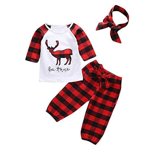 Huihong Kleinkind Baby 3 Stücke Weihnachten Kleidung Sets Deer Print Tops Shirt + Plaid Druck Hosen + Stirnbänder Weihnachten Kostüm (Weiß, 18-24 Monate)
