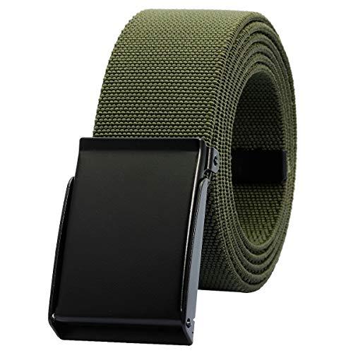 KYEYGWO Unisex Gürtel Verstellbar Einfarbig Stretch Elastisch Web Gürtel mit Flip Top Metallschnalle, Armeegrün -
