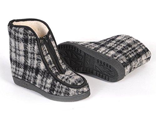 Natural Line - Pantofole a stivale con imbottitura in lana di pecora, da donna, Colori vari Checkered