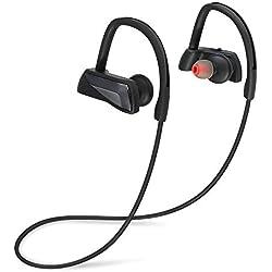 ARCHEER ÉcouteursBluetooth 4.1 sansFil IPX7 Casque Sport Etanche Anti-Transpiration Main-Libres avec Microphone Noir pour iPhone iPad Android Tablettes