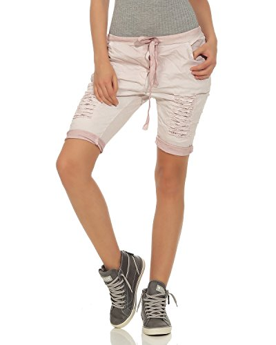 ZARMEXX Damen Shorts Hotpants Bermudahose Verwaschene zerrissene Destroyed Short Leichte Sweat Capri Used-Look Altrosa, One Size (36-40)