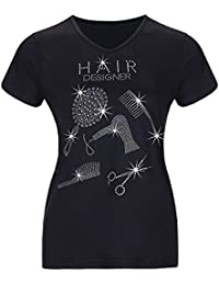 Gfsoediden Bling Hair Designer Printed Camisetas de Manga Corta para Mujer Graphic Tops Negras