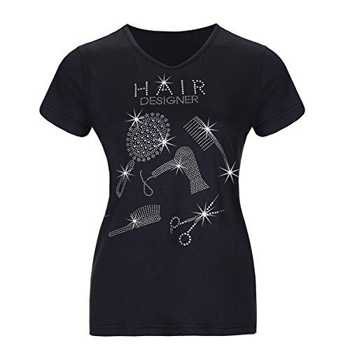 Rszfcoiugh magliette a manica corta da donna stampate con motivo di capelli bling con t-shirt con stampa grafica nera (colore : black, dimensione : s)