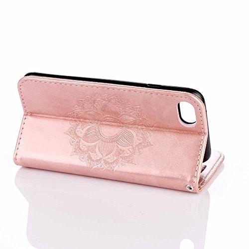 iPhone 8 Plus Custodia,COOSTOREEU Mandala Embossing Premium PU Custodia in Pelle Card Slot Magnetica Portafoglio Flip per iPhone 8 Plus,Porpora Oro rosa