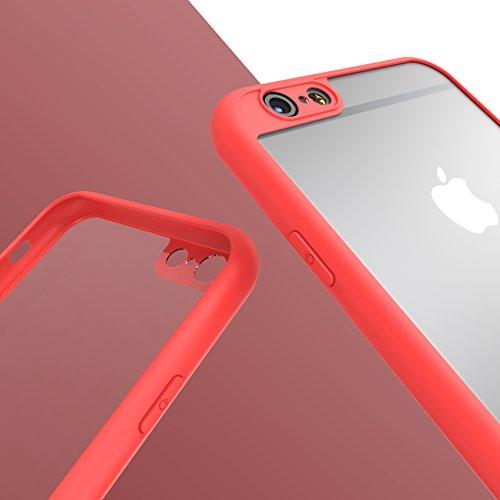 Urcover® Apple iPhone 6 / 6s Schutzhülle transparent mit Rahmen in Schwarz Back-Case Cover Smartphone Schale Rot