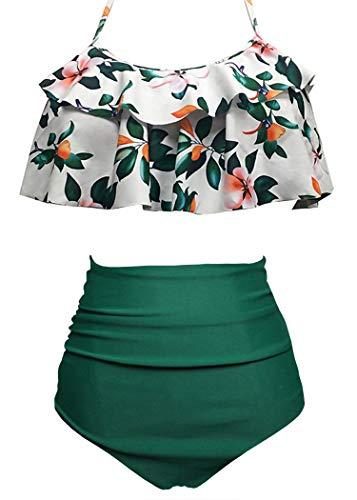 AOQUSSQOA Damen Badeanzug Rüschen Hals Hängen Bikini Sets Zweiteilige Bademode mit Hoher Taille Strandkleidung (EU 46-48 (XL),Grüne Blume)